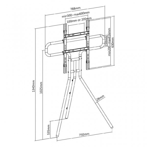 FOREST AV EASEL STUDIO TV FLOOR STAND FOR46F-03 3