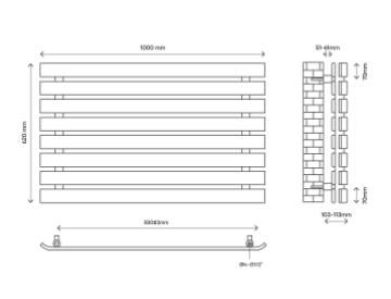 wilsona dizaina horizontālais radiators (W)1000mm (H)620mm 4