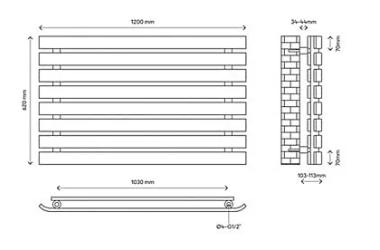 Wilsona dizaina horizontālais radiators (balts) (W)1200mm (H)620mm 4