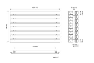 wilsona dubultais dizaina horizontālais radiators (W)1000mm (H)620mm 5