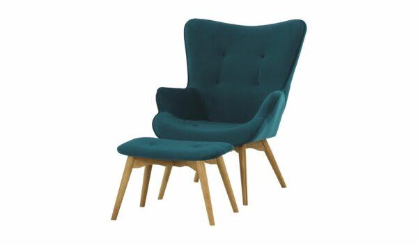 Ducon atzveltnes krēsls ar puffu (tumši zils) 1