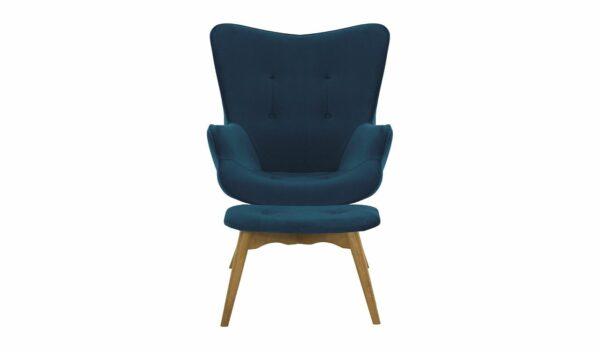 Ducon atzveltnes krēsls ar puffu (tumši zils) 2
